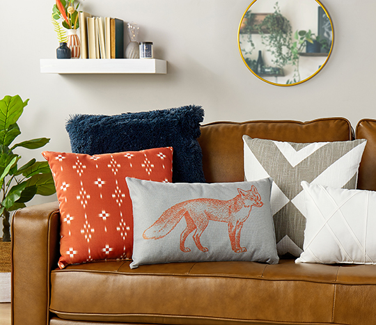 Couch with mix of throw pillows