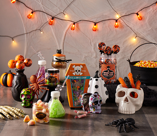Halloween themed candy and décor on tabletop