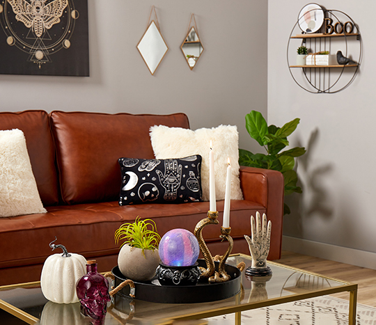 Living room décor decorated with mystic Halloween styles