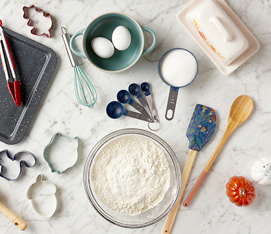 baking tools and accessories with fall designs