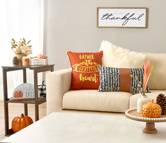 Indoor living room decorated with fall, harvest, thanksgiving décor.
