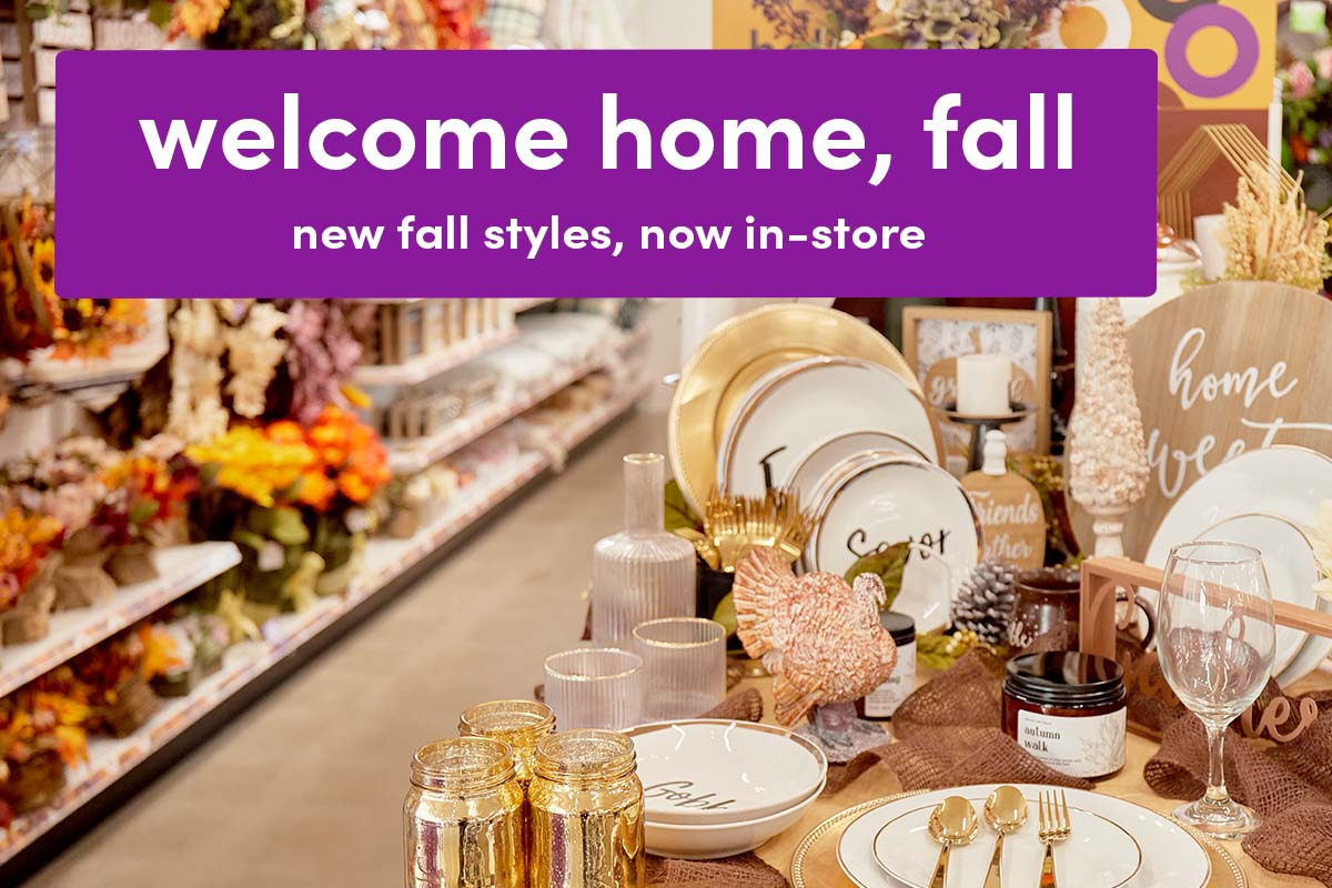 popshelf harvest décor and kitchen items on display in store