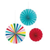 Colorful Paper Fan Decorations, Assorted, 3 Count