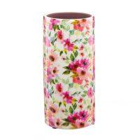 Pink Floral Cylinder Ceramic Vase