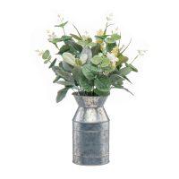 Faux Eucalyptus Arrangement in Metal Vase, 16 in.