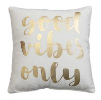 Décor Society Good Vibes Decorative Throw Pillow, Gold Foil, 18 x 18 in.