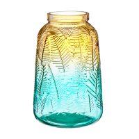 Ombre Textured Leaf Glass Vase