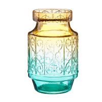 Ombre Striped Glass Vase