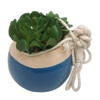 Ceramic Hanging Pot with Faux Plant