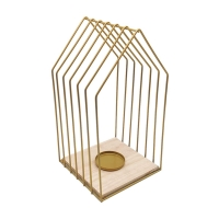Gold Metal and Wood Shaped Candle Holder