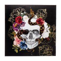 Halloween Floral Skull Skeleton Canvas Wall Art, 24x24 in.