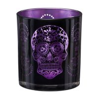 Day of the Dead Glass Votive Tealight Candle Holder