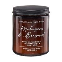 Mahogany & Bergamot Single Wick Candle, 6.5 oz.