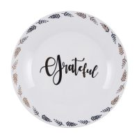Grateful Ceramic Dinner Plate with Gold Leaf Accents, 10 in.