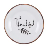 Thankful Ceramic Salad Plate with Gold Rim, 7.5 in.