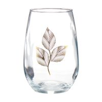 Stemless Wine Glass with Gold Leaf Detail, 30 oz.