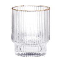 Art and Cook Ribbed Gold Rim Glass Tumbler