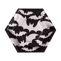 9.25-in. Silver Bats Halloween Party Plates, 12 Count