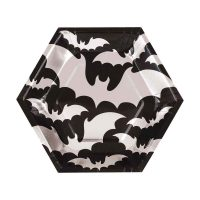 8.25-in. Silver Bats Halloween Party Plates, 12 Count