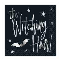 Silver Bats Witching Hour Halloween Beverage Napkins, 20 Count