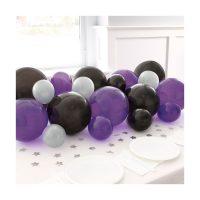 Black, Purple & Pearlized Silver Balloon Garland Table Runner Kit