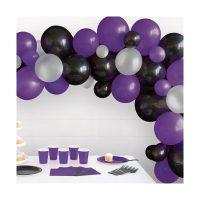 Black, Purple & Silver Balloon Arch Kit, 40 Piece